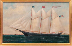William P. Stubbs (Maine/Massachusetts, 1842-1919)      Portrait of the Three-masted Schooner Benjamin Cromwell