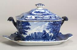 Blue Transfer Decorated Tureen with a Cover and an Undertray