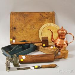 Ten Assorted Mostly Wooden Country Kitchen Items