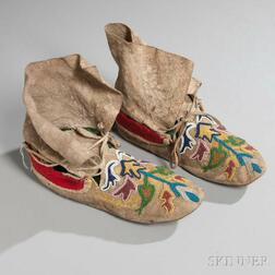 Sarcee Beaded Hide Moccasins