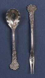 "Two Tiffany & Co. Sterling ""Holly"" Pattern Flatware Items"