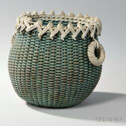Blue/green- and White-painted Ropework Basket