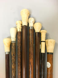 Eight Wood and Whale Ivory Canes