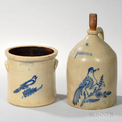 Two Cobalt Bird-decorated Stoneware Items