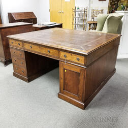 George III-style Leather-top Mahogany Partner's Desk