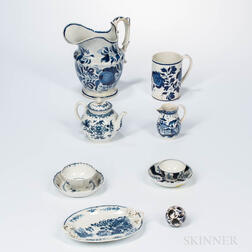 Eight Blue and White Ceramic Items