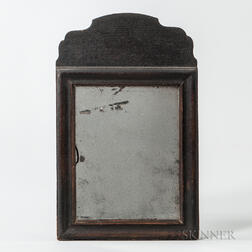 Small Black-painted Pine Queen Anne Mirror