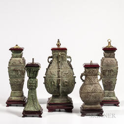 Five Archaic-style Bronze Lamp Vases
