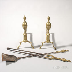 Pair of Brass and Iron Double Lemon-top Andirons and Tools