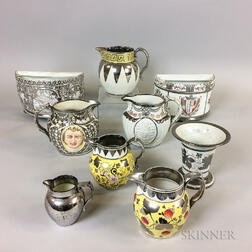 Nine Silver Lustre Ceramic Items