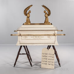 Carved and Painted Odd Fellows Ark of the Covenant with Gold-painted Angels and Painted Ten Commandments Tablet