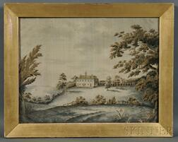 Silk Needlework Picture Depicting Mount Vernon