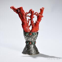 Coral-mounted Silver Altar Ornament