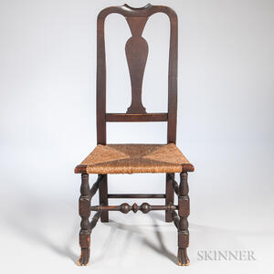 Carved Tiger Maple and Maple Side Chair