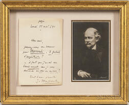 Massenet, Jules (1842-1912) Autograph Note Signed, Paris, 25 May 1891.