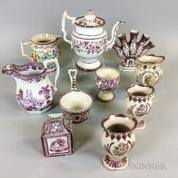Ten Staffordshire Pink Lustre Ceramic Items