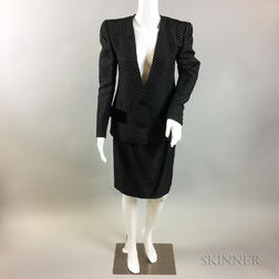 Retro Oscar de la Renta Black Striped Silk Suit
