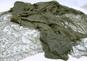 Two Black Lace Triangular Shawls, Two Collars, and a Remnant.