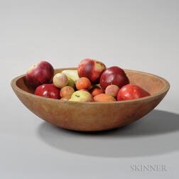 Turned Wooden Bowl Containing Approximately Twenty-five Pieces of Stone Fruit