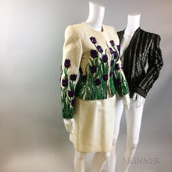 Retro Oscar de la Renta Sequined Tulip Suit and Sequined Jacket
