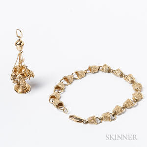 Two Pieces of 14kt Gold Nantucket-themed Jewelry