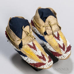 Apache Beaded Hide Infant's Moccasins