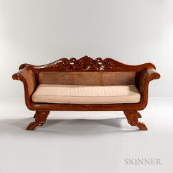 Carved Exotic Hardwood Caned Settee