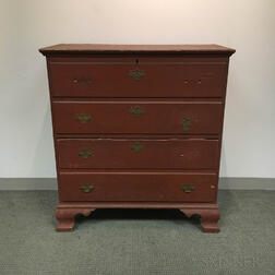 Chippendale Red-painted Pine Two-drawer Blanket Chest