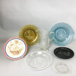 Seven Commemorative Mostly Glass Items