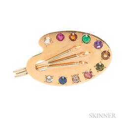 14kt Gold Gem-set Brooch