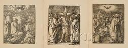 Lot of Three Woodcuts by or after Albrecht Dürer (German, 1471-1528)      The Ascension, The Doubting Thomas