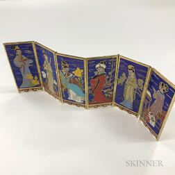 Miniature Cloisonne Six-panel Folding Screen