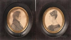 American School, 19th Century      Pair of Miniature Portraits of Elihu Jewell Crane and Eliza Miller Crane