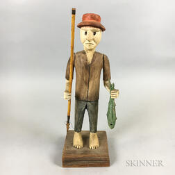 Contemporary Folk Art Carved and Painted Wood Fisherman