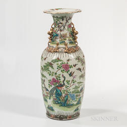 "Large Polychrome Enameled ""Hundred Birds"" Vase"
