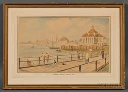 """American School, 19th Century      """"Cambridge Bridge-Boston 1857."""" With the Charles St. Jail in the Distance."""