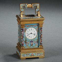 Miniature French Champleve Carriage Clock