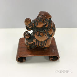 Boxwood Netsuke of a Man and Child