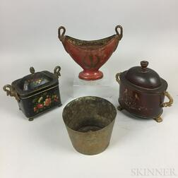 Three Tole Items and an Engraved Brass Pot