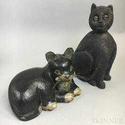 Two Carved and Painted Wood Cats