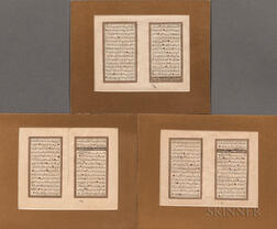 Three Double-folio Leaves of Calligraphy