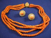 18kt Gold, Coral, and Diamond Necklace and Earclips