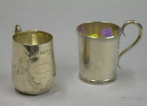 Two Mid-19th Century Silver Mugs