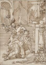 French School, 17th/18th Century      Murder on the Steps of a Roman Palace