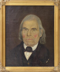 American School, 19th Century       Portrait of a Gray-haired Gentleman, Possibly Lt. Abel Rising
