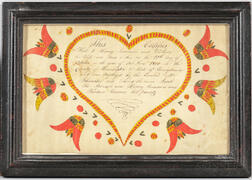 Watercolor Birth and Baptismal Certificate Fraktur for Jacob Summers