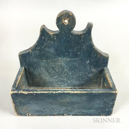 Small Blue-painted Pine Hanging Wall Box