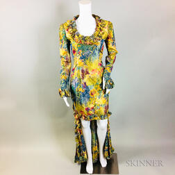 Retro Oscar de la Renta Silk Yellow Floral Gown