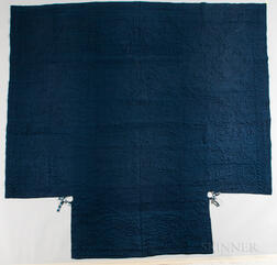 Blue Quilted Woolen Coverlet