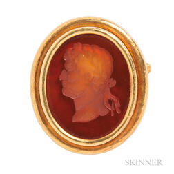 18kt Gold and Glass Intaglio Brooch, Elizabeth Locke